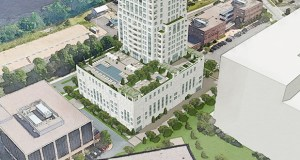 Traffic to and from the Eleven condo tower would travel along the southern side of the building under an alternative plan for a driveway to the building. The developers' preferred route would be from West River Parkway along the east side of the building. (Submitted illustration: Ryan Cos. US Inc.)
