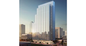 A new, office-oriented design for United Properties' planned Gateway tower at 30 S. Third St. in downtown Minneapolis includes a stepped roofline that drops in height on the side of the building facing the Mississippi River. (Submitted illustration: Smallwood, Reynolds, Stewart, Stewart)
