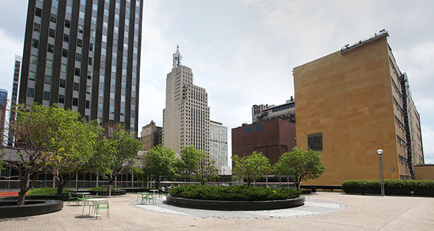 The YMCA of the Greater Twin Cities is considering moving its downtown St. Paul location to a new building on the western end of the podium of the Osborn370 tower at 370 Wabasha St. N. The Metropolitan Council has approved a $25,500 grant to study the site and prepare plans. (Staff photo: Bill Klotz)