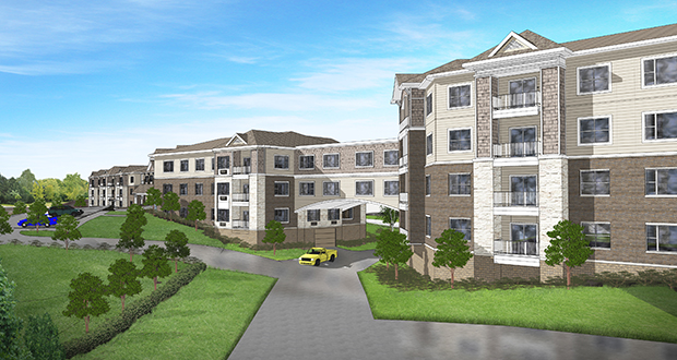 Stillwater-based Hearth Development is adding to Eden Prairie's senior housing stock with this 141-unit development on a site bordered by Pioneer Trail on the north, Hennepin Town Road on the west and Highway 169 on the east. (Submitted rendering: Kaas Wilson)