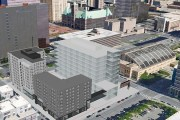 Sherman Associates in March 2018 proposed a hotel and an apartment building on the south side of a block bounded by Fifth Avenue South, South Sixth Street, Portland Avenue and South Seventh Street in downtown Minneapolis. The property is just south of Thrivent Financial's new headquarters site. (Submitted image: Sherman Associates)