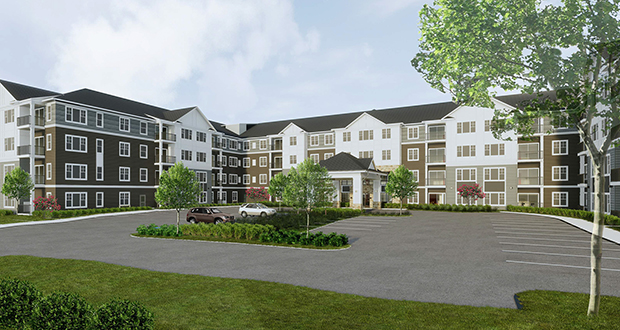 Roers Cos. has closed on the site for 134 units in the four-story, U-shaped Burnsville Senior Living project at the northeast corner of Grand Avenue and 145th Street East in Burnsville. (SUBMITTED ILLUSTRATION: KAAS WILSON ARCHITECTS)