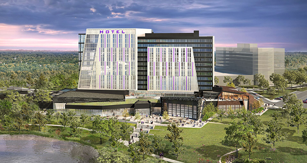MV Ventures is proposing this 14-story hotel-conference center on the Vikings headquarters campus in Eagan.  (Submitted rendering: ESG Architects)