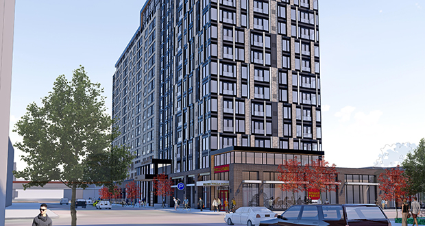 A 16-story apartment building proposed by Kraus-Anderson would rise on the site of the Wells Fargo bank branch at 800 Park Ave. in downtown Minneapolis. Wells Fargo would occupy space on the first floor of the new building. (Submitted image: ESG)