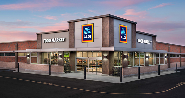 This rendering shows a typical design for an Aldi grocery store. The company's Faribault division has acquired 6.34 acres for a new store on the southwest corner of 207th Street West and Keokuk Avenue in Lakeville. The site is in the northwest quadrant of the growing business area around County Road 70 and Interstate 35. (Submitted image: Aldi)