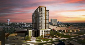 Edina Promenade Residences, a 19-story apartment tower proposed at 3650 Hazelton Road in Edina, is nearing final approvals from the city. (Submitted image: ESG)