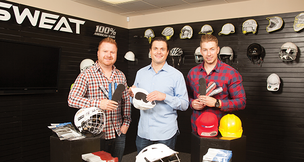 NoSweat makes sweat-absorbing liners for hats, helmets and other headgear. Among the startup's leaders (from left to right) are Jon Marshalla, chief financial officer and co-founder; Justin Johnson, CEO and founder; and Collin Iacarella, chief sales and marketing officer. (Submitted photo: Enterprise Minnesota)