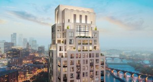 The planned Eleven condominium tower at 1101 W. River Parkway in Minneapolis. will look over the Stone Arch Bridge, Gold Medal Park and the downtown Minneapolis skyline. Robert A.M. Stern Architects designed stepped facades for the building with oversized terraces and windows that vary in size and shape from floor to floor. (Submitted illustration: Robert A.M. Stern Architects)