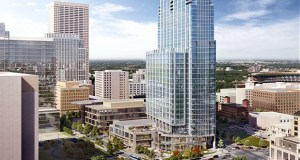 A new illustration of United Properties' Gateway tower shows the plaza and orientation of the 37-story building planned at 30 S. Third St. in downtown Minneapolis.  (Submitted illustration: Smallwood, Reynolds, Stewart & Stewart Inc.)