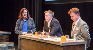 Transwestern's Jim Montez (center) answers a question about the Twin Cities office market from moderator Anna Coskran (left), while United Properties President Bill Katter (right) listens. (Submitted photo: Alex Carroll Photography)