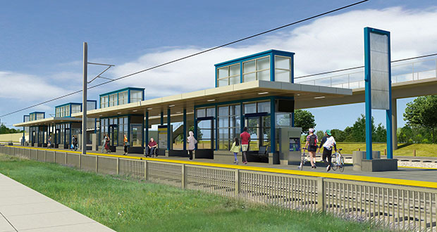 The Metropolitan Council unanimously awarded a $799.5 million civil construction contract for the Southwest Light Rail Transit line on Thursday. This rendering shows the Beltline Station in St. Louis Park. (Submitted rendering: Metropolitan Council)