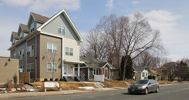 Minneapolis residents could start seeing small multifamily buildings, like this six-plex on Nicollet Avenue, in other single-family neighborhoods after the Minneapolis City Council approved the sweeping 2040 land use plan. (File photo: Bill Klotz)