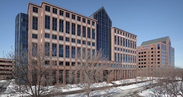 The nine-story office towers at 1600 and 1550 Utica Ave. S. in St. Louis Park are nearly identical towers Florida-based Accesso Partners purchased at the West End. (Submitted photo: CoStar)