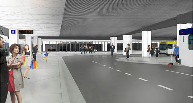 A station for the D Line Bus Rapid Transit project will tie in with this Mall of America Transit Center renovation. The Metropolitan Council is expected to award a $9.5 million D Line engineering contract Wednesday to Omaha, Nebraska-based HDR. (Submitted rendering: Metropolitan Council)