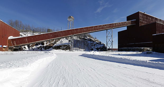 This Feb. 10, 2016, photo shows a former iron ore processing plant near Hoyt Lakes, Minnesota, that would become part of a proposed PolyMet copper-nickel mine. (AP file photo)