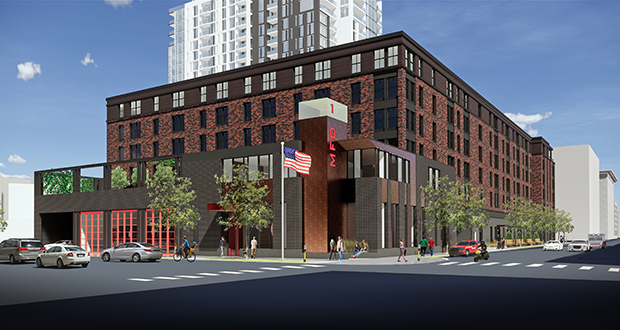 Sherman Associates has received preliminary approval for up to $16 million in tax-exempt multifamily housing revenue bonds for the affordable component (foreground) of this planned $125 million mixed-use development in downtown Minneapolis. The development site is at the southwest corner of Washington and Portland avenues. (Submitted rendering: ESG)