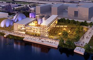 An outdoor entertainment venue that would seat 10,000 people would be at the center of the first phase of development of the Upper Harbor Terminal property in Minneapolis. (Submitted illustration: Coen + Partners)