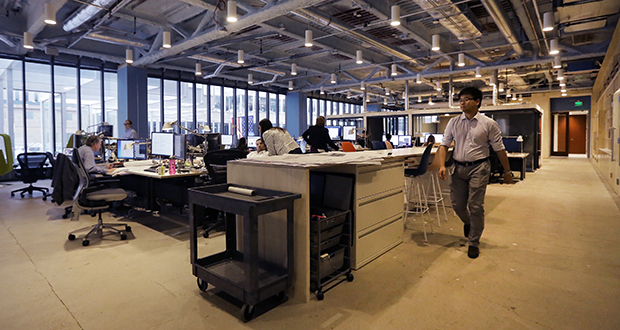Perkins+Will's Minneapolis office in the IDS building installed networked lighting from Audacy, a division of Ideal Industries Inc. of Sycamore, Illinois. (File photo: Bill Klotz)