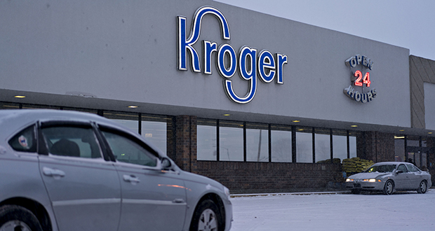 The digital shelving system developed by Kroger and Microsoft debuted in the fall and can now be found at the end of the aisles at 92 Kroger locations. This Feb. 5 file photo shows a Kroger Co. supermarket in Sterling, Illinois. (Bloomberg file photo)