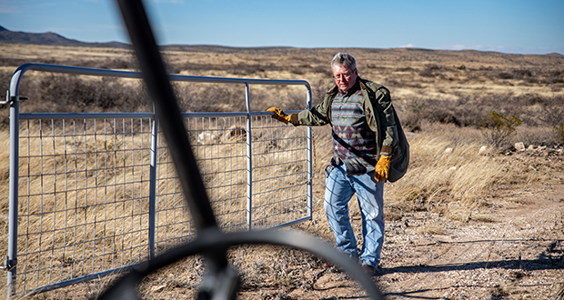 Toby Darden, owner of KC7 ranch, opens a gate Jan. 18 while driving through the property in Balmorhea, Texas. KC7 ranch's water rights were front-and-center in marketing the property, which just went into contract for a hefty $32.5 million. The reason is fracking, a technique that helped kicked off the shale revolution a decade ago. (Bloomberg photo: Sergio Flores)