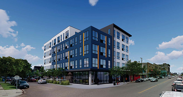North Bay's proposed apartments at 601 Lake St. W. in Minneapolis would feature apartments ranging in size from 380 square feet of space to 550 square feet of space. (Submitted rendering: DJR Architecture)