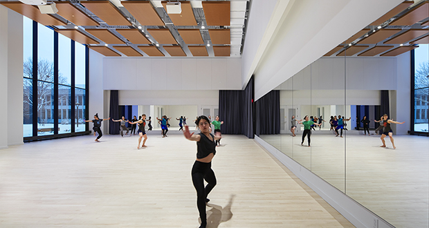 The main floor of Macalester College's new theater and dance building features a 2,400-square-foot dance studio with large windows and a high ceiling. (Submitted image)