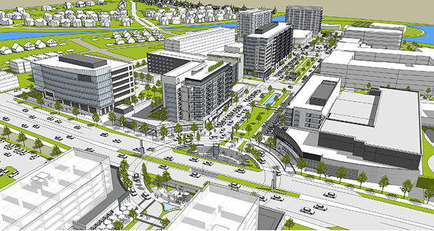 A master redevelopment plan calls for nearly 1,500 housing units, 1 million square feet of commercial space and other uses on the 427-acre site in the northeast quadrant of Interstate 35W and Highway 96 in Arden Hills. (Submitted rendering)