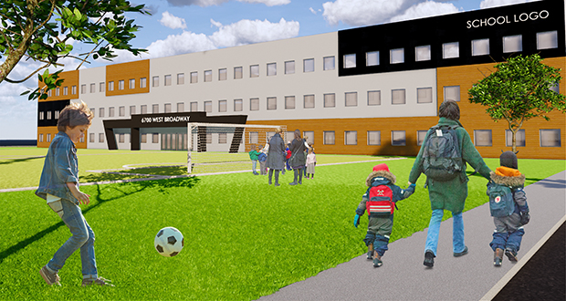 Local developer Jeff Laux wants to build this charter school on a site just east of West Broadway and south of Interstate 94 in Brooklyn Park. (Submitted rendering)
