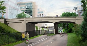 The new Fremont Avenue bridge over the Midtown Greenway is designed to look much like the existing crossing. (Submitted rendering: MnDOT)
