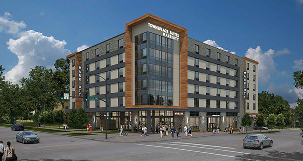North Rock Real Estate plans to build a 109-room extended-stay hotel at the corner of Sixth Avenue Southwest and Second Street Southwest in Rochester, Minnesota. The site is between Mayo Clinic's St. Marys and downtown campuses. (Submitted image: GBA)