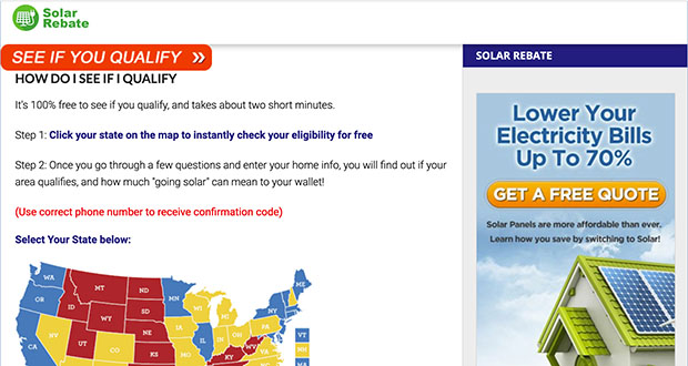 This screenshot shows a website re-directed from ads promising big state tax incentives placed on Facebook. Hundreds of ads running on Facebook for more than a year promised that governors across the country had signed off on big tax breaks for U.S. homeowners who wanted to install new solar energy panels. But the tax incentives didn't exist. (Photo: Solar Rebate via AP)