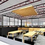 A tenant cafeteria space visualized for the Leef Building.  (Submitted illustration: Wellington Management)