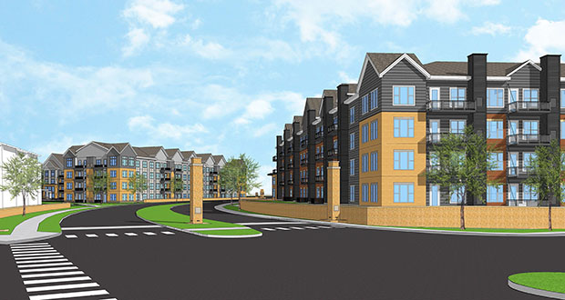 Plymouth-based Dominium is planning a 204-unit senior apartment building, left, and a 154-unit family apartment building as part of the Midtown Village project in New Brighton. (Submitted rendering: BKV/Dominium)