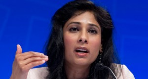 Gita Gopinath, chief economist and director of research at the IMF, speaks during a news conference at the World Bank/IMF Spring Meetings on Tuesday in Washington. (AP photo)