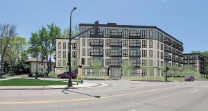 Solhem Cos. has proposed a pair of apartment buildings on either side of Main Street just south of Broadway Street Northeast in Minneapolis. The buildings would offer a combined 288 new apartments. (Submitted images: Momentum Design Group)
