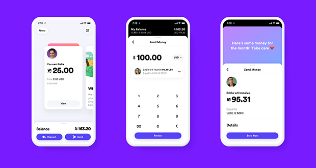 This undated image shows what the Calibra digital wallet app might look like. Facebook formed the Calibra subsidiary to create a new digital currency similar to Bitcoin for global use, one that could drive more e-commerce on its services and boost ads on its platforms. (Image: Calibra via AP)