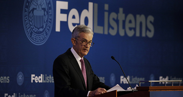 Federal Reserve Chairman Jerome Powell speaks June 4 at a conference involving its review of its interest-rate policy strategy and communications in Chicago. On Wednesday the Federal Reserve will release its latest monetary policy statement and updated economic projections. (AP file photo)