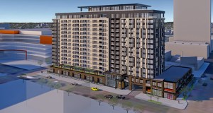A new rendering of a 16-story apartment building Kraus-Anderson will start building in March at 813 Portland Ave. S. in downtown Minneapolis shows it integrated with a Wells Fargo bank branch. (Submitted illustration: Kraus-Anderson)