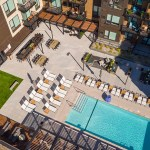 The third-floor pool deck at Onyx Edina is isolated away from the bustle of Southdale by being wrapped on three sides by apartments. (Submitted photo: Lennar)