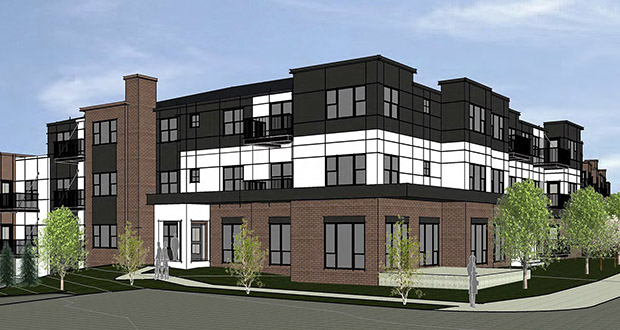 The three-story Shady Oak Crossing apartments Ron Clark Construction is planning will include underground parking. (Submitted illustration: Whitten Associates)
