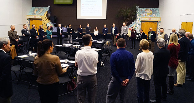 The Twin Cities area has emerged as a national leader in the circular economy movement through the Environmental Initiative's Minnesota Sustainable Growth Coalition. This photo shows a coalition gathering in April 2016. (Submitted photo: Environmental Initiative)