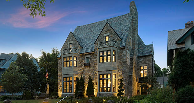 The Schuneman Mansion, a four-story stone and slate mansion at 489 Grand Hill in St. Paul, was designed in 1925 by an architect who helped design Grand Central Terminal in New York. The home sold June 21 for $2 million. (Submitted photo: Spacecrafting)
