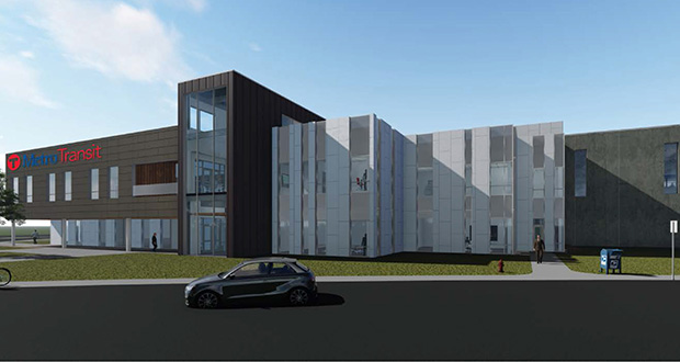 Construction bids came in 11 percent over the $102.5 million estimate for this planned Metro Transit bus garage at 560 Sixth Ave. N. in Minneapolis. (Submitted rendering)