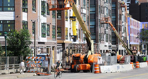 Developers are expected to deliver 5,500 new Twin Cities apartments in 2019, with 1,100 of them in downtown Minneapolis, according to the Compass Report. The 1500 Apartments, pictured, are currently under construction in Minneapolis at 1500 Nicollet Ave. (Photo: Bill Klotz/Special to Finance & Commerce)