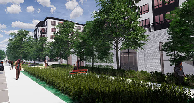 """Edina City Council members said Tuesday they like the idea behind an """"interior promenade"""" public space in Ryan's proposed redevelopment of the U.S. Bank property at 7001 France Ave. S., but worried the feature as currently designed would not serve the greater public. (Submitted image: RSP)"""