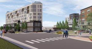 A narrow, triangular building planned for the site of a gas station at 3012 Excelsior Blvd. in Minneapolis would have 100 boutique hotel rooms and 20 condominiums. (Submitted illustration: ESG Architects)