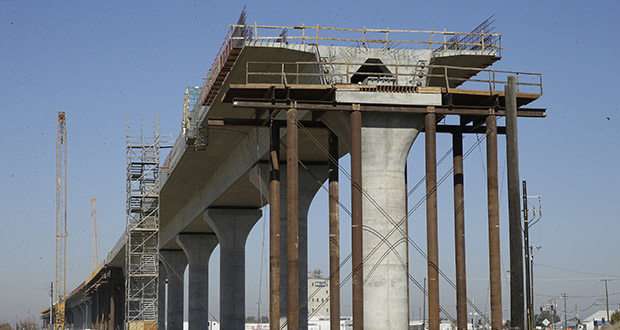 In this 2017 file photo, one of the elevated sections of the high-speed rail is under construction in Fresno, California. (AP file photo)