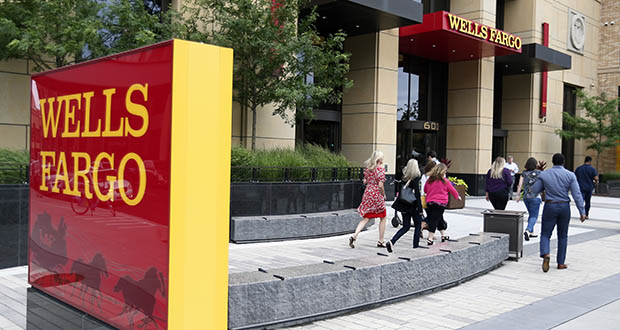 The Wells Fargo campus in Minneapolis' Downtown East neighborhood is shown in this July 10 photo. (AP Photo: Jim Mone)