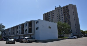 Utah-based DeSola Capital plans to acquire and rehab this 223-unit apartment complex at 1121 12th Ave. N. in Minneapolis. The complex includes a 12-story building, three 3-story buildings and surface parking. (Submitted photo: Hennepin County)