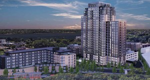 Bader Development has submitted updated plans for Calhoun Towers, building a single 26-story tower and three mid-rise apartment buildings around the single current tower at 3430 List Place. (Submitted image: ESG)
